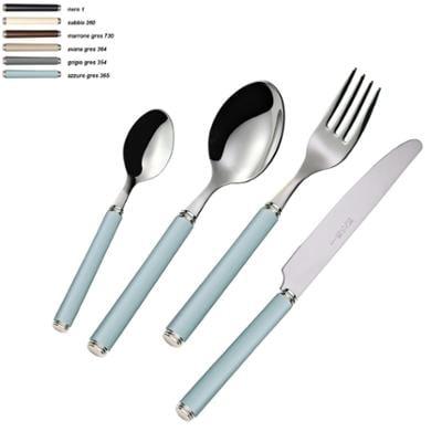 Set Posate colorate 4 pezzi LINEA GRES 1 Coltello 1 Forchetta 1 Cucchiaio 1 Cucchiano caffe in acciaio 1810