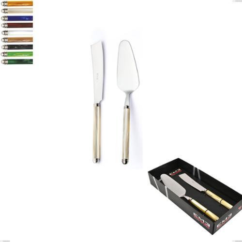 Confezione vetrina 2 pezzi,paletta più coltello dolce da servizio Linea Perlato, Acciaio inox 18/10 (AISI304)