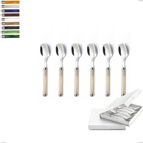 Confezione a libro 6 pezzi cucchiaini gelato Linea Perlato, Acciaio inox 18/10 (AISI304)