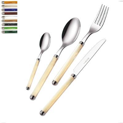 Servizio Posate colorate LINEA PERLATO 39 pezzi 6 Posti tavola in acciaio 18/10 in confezione regalo