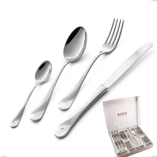 Cofanetto 24 pezzi Milano Inciso , 18/10 (AISI304) acciaio inox Lucido , spessore 2,5 mm