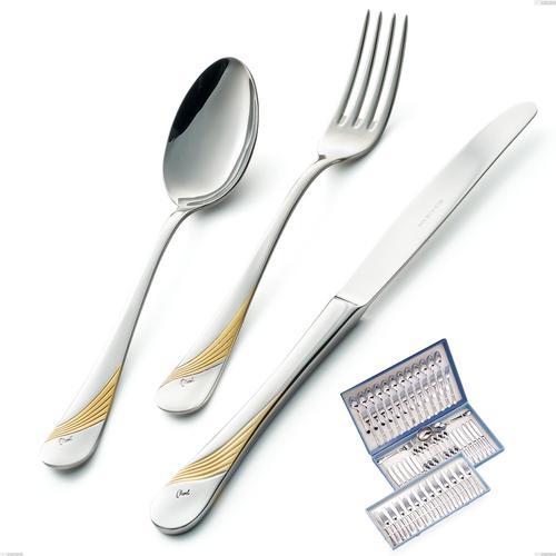 Astuccio 75 pezzi Milano Inciso Oro , 18/10 (AISI304) finitura inox lucido e oro, spessore 2,5 mm