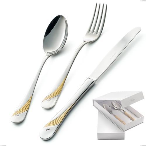 Confezione a libro 2 pezzi insalata Milano Inciso Oro , 18/10 (AISI304) finitura inox lucido e oro, spessore 2,5 mm