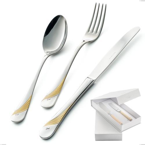 Confezione a libro 2 pezzi,paletta più coltello dolce da servizio Milano Inciso Oro , 18/10 (AISI304) finitura inox lucido e oro, spessore 2,5 mm