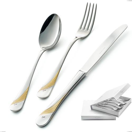 Confezione a libro 6 pezzi forchette dolce Milano Inciso Oro , 18/10 (AISI304) finitura inox lucido e oro, spessore 2,5 mm