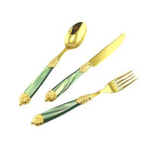 Servizio posate Mirage, in Confezione vetrina 24 pezzi 6 posti tavola , Ghiere oro Tin Gold 18.10 (AISI 304) verde perlato