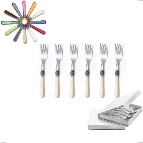 Confezione a libro 6 pezzi forchette dolce Napoleon Perlato, (acciaio 18.10 aisi304), manici in metacrilato