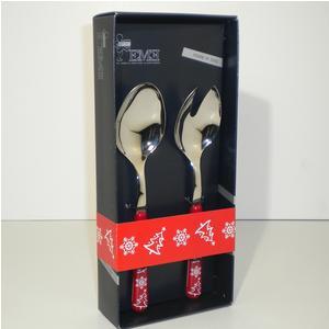 Set insalata due pezzi BRIO ROSSO Natale in acciaio 18/C in confezione Regalo