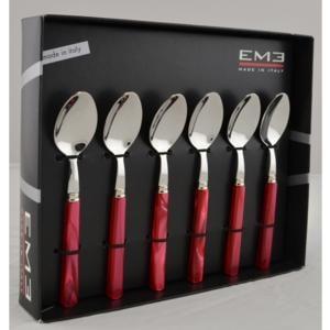 Cucchiaino da Caffè PERLA ROSSO in acciaio inox 18/10 spessore 2 mm in Confezione EME