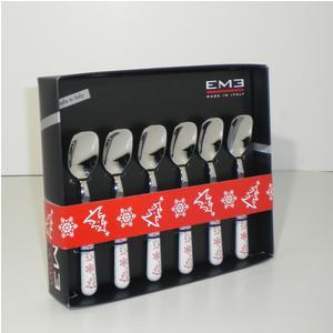 Cucchiaini da Gelato 6 pezzi Bianco Natale in acciaio 18/C in confezione Regalo