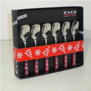 Cucchiaini da Gelato 6 pezzi PERLA ROSSO Natale in acciaio 18/C in confezione Regalo