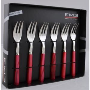 Forchettine da Dolce PERLA ROSSO in acciaio inox 18/10 spessore 2 mm in Confezione EME