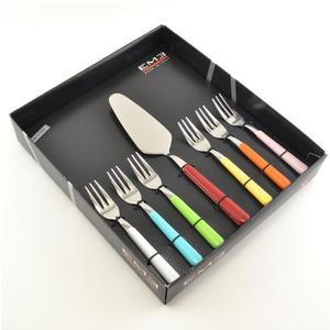 Set Forchettine da Dolce 6 pezzi + Paletta 7 colori BRIO in acciaio 18/C in confezione Regalo Colori