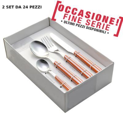 Servizio Posate 48 pezzi 12 posti tavola pezzi colorate BONITA RIGHE ARANCIO 79 ( paghi una confezione prendi due confezioni)