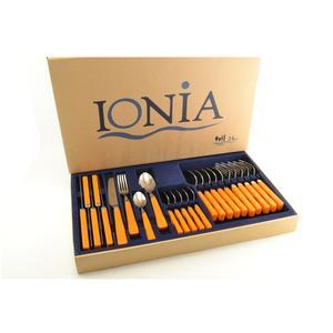 Servizio Posate 24 Pezzi in acciaio 18/10 Spessore 2 mm in confezione Vetrina colore arancio