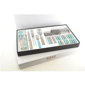 Set Posate Colorate 24 pezzi BRIO in acciaio 18/C in confezione panoramica Colori Pastello