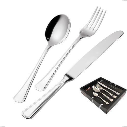 Confezione vetrina 24 pezzi coltello manico vuoto Savoia Argentato 3 mm spessore argento 25 micron, Acciaio inox 18/10 (AISI304) Argento 25 micron, spessore 3 mm