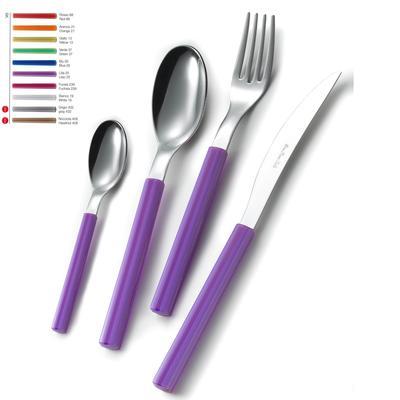 Set Posate colorate SKY 1 Coltello 1 Forchetta 1 Cucchiaio 1 Cucchiaino caffè in acciaio manico in metacrilato colorato