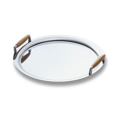 Vassoio Rotondo acciaio inox 18/10 Apollo diametro 35 cm con maniglie con inserto in legno