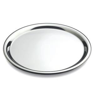 Vassoio Rotondo Piano Convivio Ø 35 cm con bordo ed interno in acciaio inox Lucido