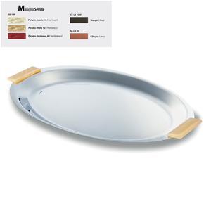Vassoio Ovale inox lucido Seville 33 cm con manici colorati