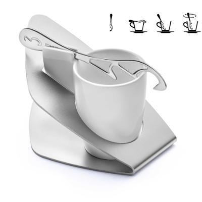 Tazzina da Espresso Modishspoon in porcellana con supporto in acciaio satinato