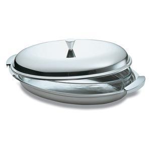 Legumiera Ovale 33 cm EMY Lucido in acciaio inox 18.10 manici in acciaio satinato