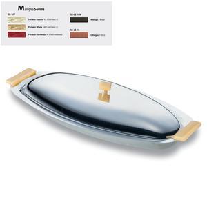 Pescera Ovale inox lucido con coperchio Seville 60 cm con manici colorati
