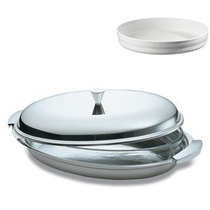 Portapirofila ovale acciaio inox 18/10 con coperchio e pirofila in porcellana EMY eme 45 cm manici in acciaio satinato
