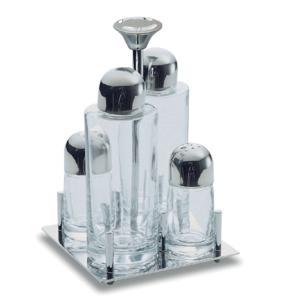 Oliera QUADRATA ALEX in acciaio lucido con ampolle in vetro