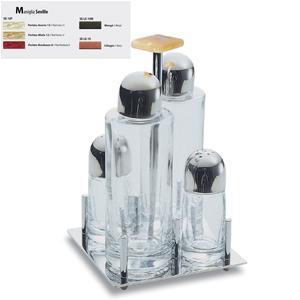 Servizio olio aceto Base quadrata Seville in acciaio lucido con ampolle in vetro manico colorato