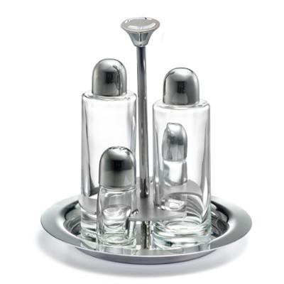 Oliera TONDA ALEX in acciaio lucido con ampolle in vetro