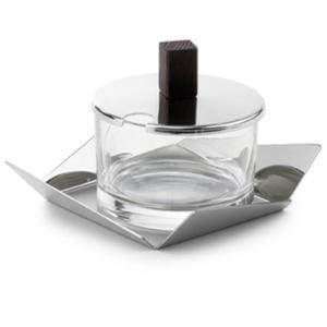 Formaggiera Quadrata in Acciaio e Pomo in Legno KENTO in acciaio lucido 15x15xh8 cm