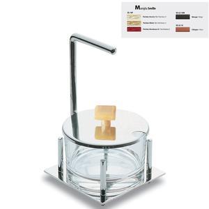 Formaggiera quadrata Seville in acciaio lucido con contenitore in vetro manico colorato