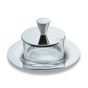 Formaggiera rotonda EMY in acciaio lucido con contenitore in vetro cristallino