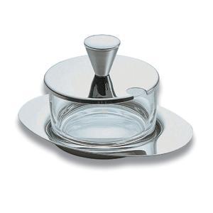 Formaggiera Ovale in Acciaio EMY in acciaio lucido 13x10xh9 cm
