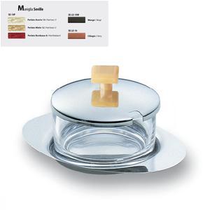 Formaggiera Ovale Seville in acciaio lucido con contenitore in vetro manico colorato