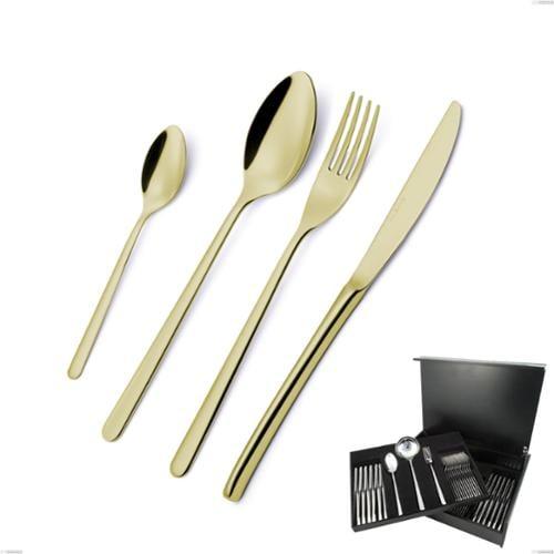 Servizio Posate VENICE TIN GOLD 75 pezzi acciaio inox 1810 AISI304 spessore 4.0 mm EME in Astuccio Legno