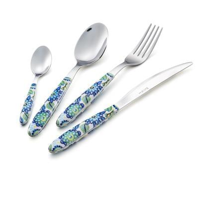 Set Posate colorate 24 pezzi VERO Tropical BLU 6 posto tavola 18/C in confezione vetrina