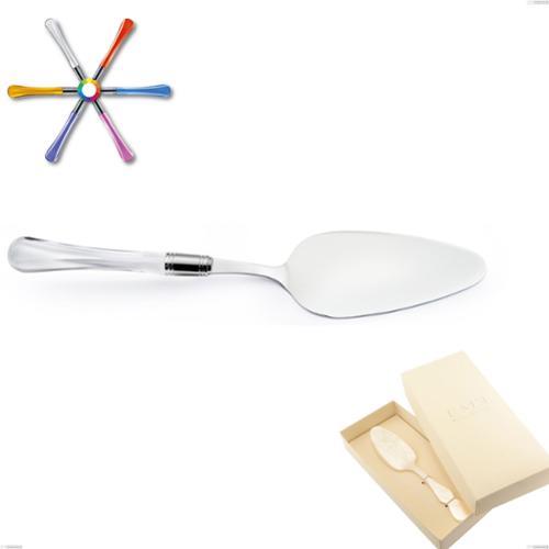 Confezione Bomboniera 1 pezzo pala torta Zaffiro, (acciaio 18.10 aisi304), manico in metacrilato