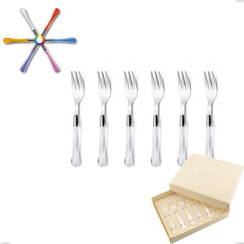 Confezione bomboniera 6 pezzi forchettine da dolce Zaffiro, (acciaio 18.10 aisi304), manico in metacrilato