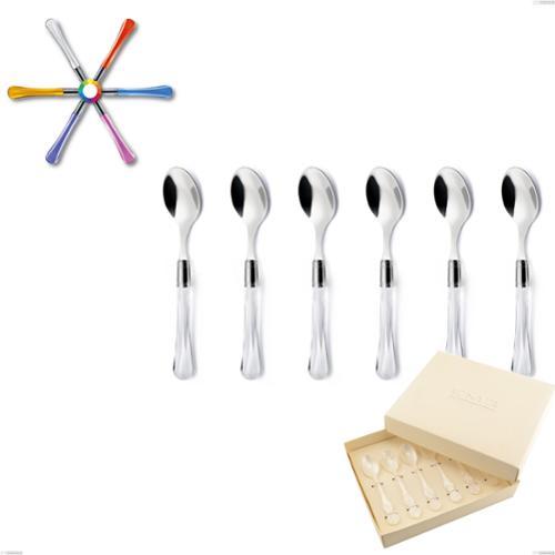Confezione bomboniera 6 pezzi cucchiaini da caffè Zaffiro, (acciaio 18.10 aisi304), manico in metacrilato