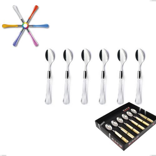 Confezione vetrina 6 pezzi cucchiaino moka Zaffiro, (acciaio 18.10 aisi304), manico in metacrilato