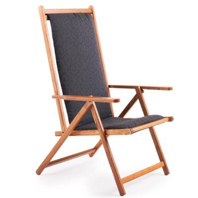 Sdraio reclinabile e richiudibile con Telo e cuscino DEMETRA due posizioni in legno di frassino e telo in PVC Scuro