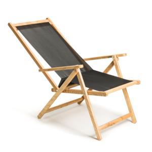 Sdraio DEMETRA reclinabile e richiudibile in legno di frassino a due posizioni e telo in PVC Scuro