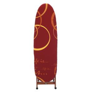 Asse da stiro Si Ci Stiro richiudibile con telaio in legno di faggio con ruote attive a prodotto chiuso Bordeaux