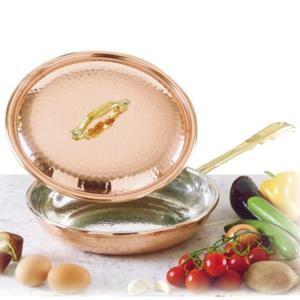 Padella con 1 manico diametro 32 cm - h7 cm - 4.90 lt in rame Martellato Stagnato linea Luxury Line