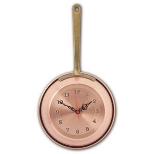 Orologio Padella in Rame Ø 22 cm martellato a mano liscio