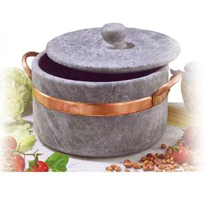 Casseruola in Pietra Ollare diametro 16 2 manici con coperchio con bordo in rame Ideale per cucinare: stufati. brasati. gli arrosti.