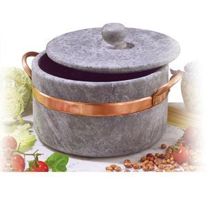 Casseruola in Pietra Ollare diametro 27 2 manici con coperchio con bordo in rame Ideale per cucinare: stufati. brasati. gli arrosti.